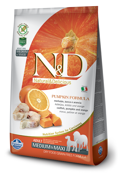N&D Grain-Free Pumpkin, CodFish & Orange Adult Medium Maxi Breed - Barks and Licks
