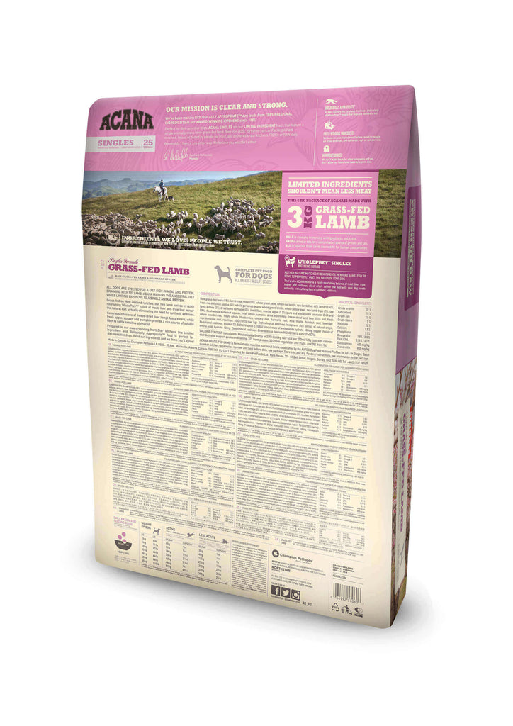 ACANA Singles Grass-Fed Lamb Dog Food - Barks and Licks