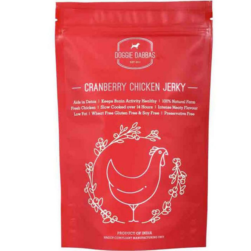 Doggie Dabbas Cranberry Chicken Jerky - Barks and Licks