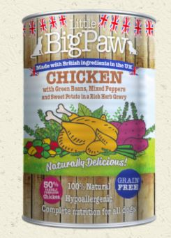Little Big Paw Chicken with Green Beans, Mixed Peppers and Sweet Potato in a Rich Herb Gravy