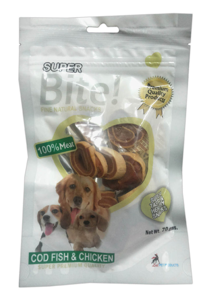Super Bite Fine Natural Snacks Cod Fish Chicken - Barks and Licks
