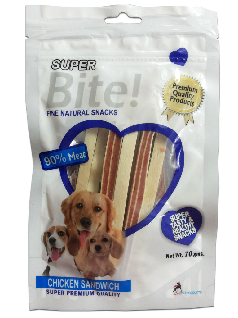 Super Bite Fine Natural Snacks Chicken Sandwich - Barks and Licks