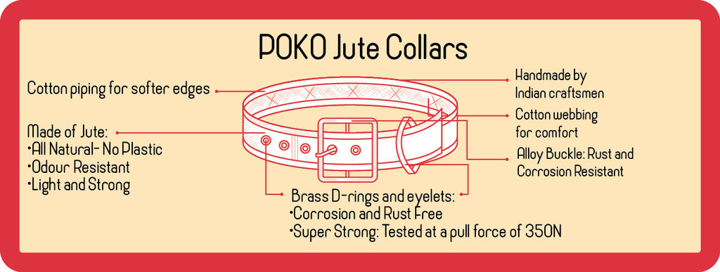 POKO Jute Collar Red Color - barksnlicks  - 2