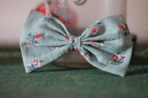 PoochMate Linen Floral Blue Dog Bow Tie - Barks and Licks