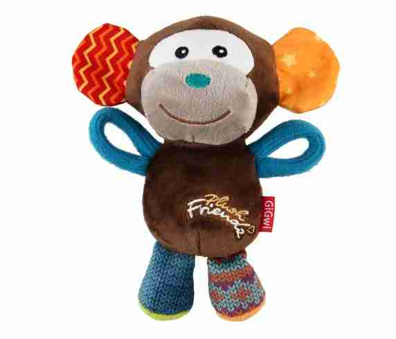 GiGwi Plush Friendz Monkey (with REFILLABLE Squeaker)