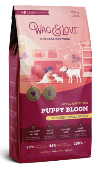 Wag and Love PUPPY BLOOM STARTER & SMALL BREEDS - CHICKEN, APPLE & THYME