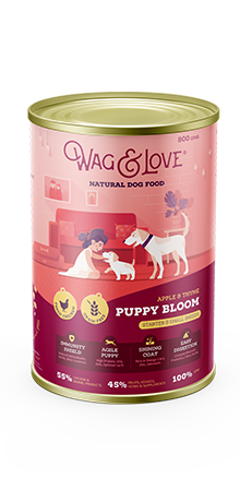 Wag and Love PUPPY BLOOM STARTER & SMALL BREEDS - CHICKEN, APPLE & THYME - Barks and Licks