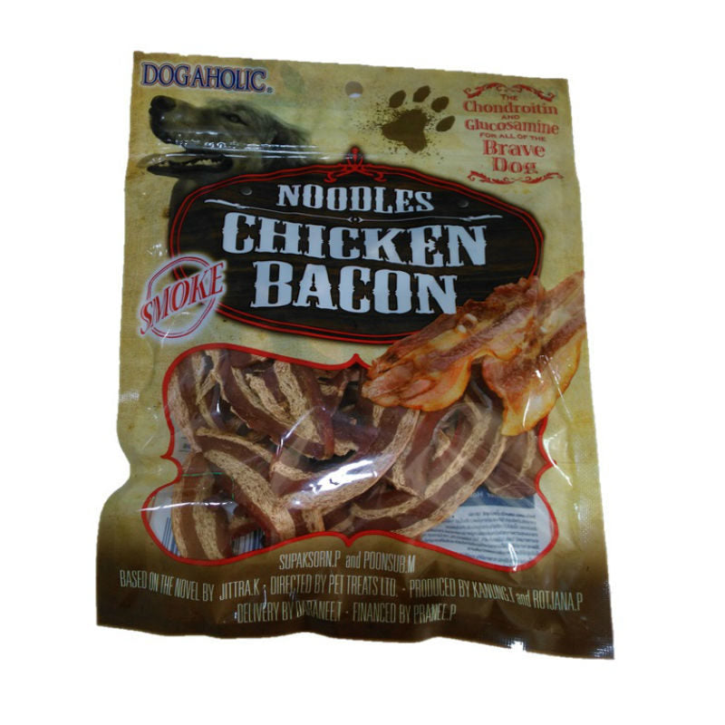 Dogaholic NOODLES CHICKEN BACON  Strips Dog Treats 130 G - Barks and Licks