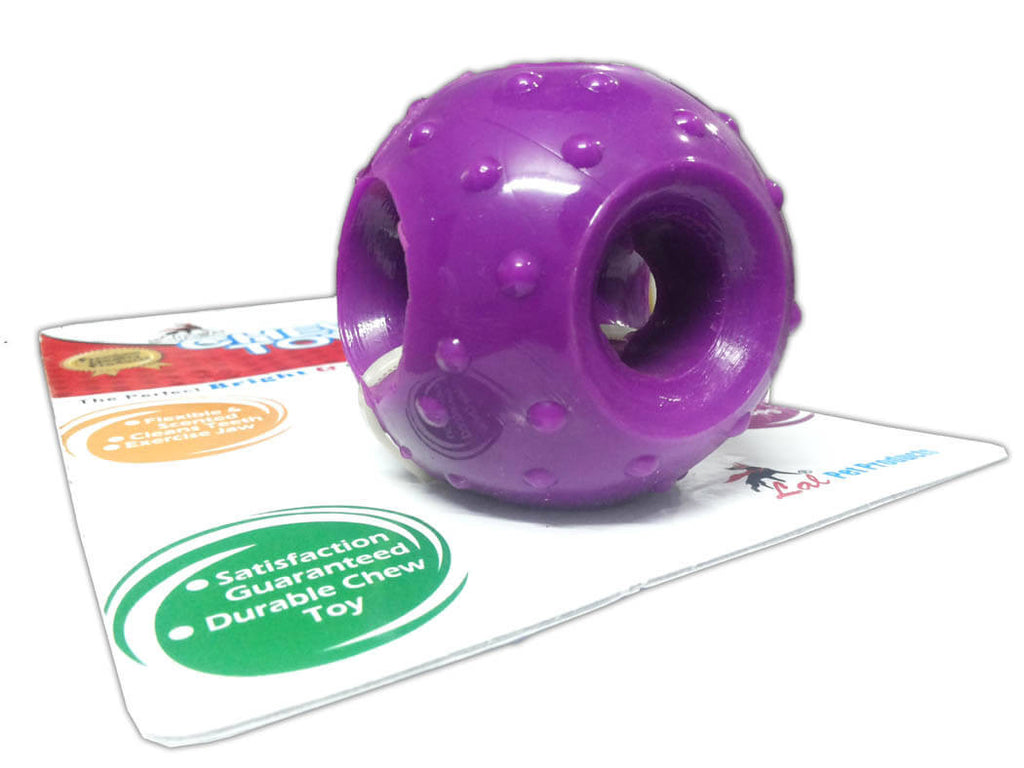 Super Rubber Chew Ball with Holes - Barks and Licks