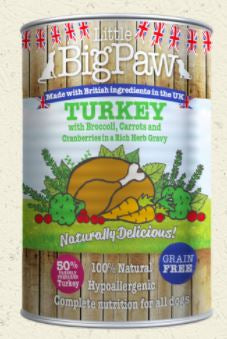 Little Big Paw Turkey with Broccoli, Carrots and Cranberries in a Rich Herb Gravy - Barks and Licks
