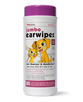 Petkin Jumbo Ear Wipes - barksnlicks