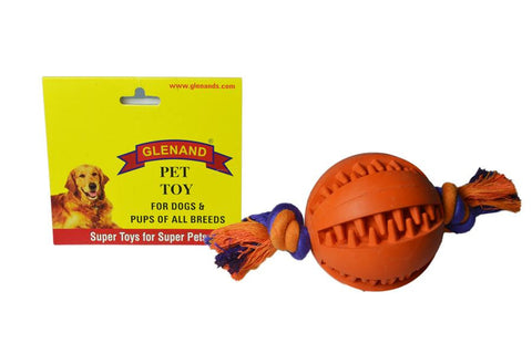 Glenand Rubber Dental Chew Ball With Rope Tug - barksnlicks