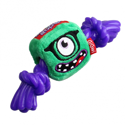 Gigwi Squeaker Monster Plush Rope/TPR Dog Toy - Barks and Licks