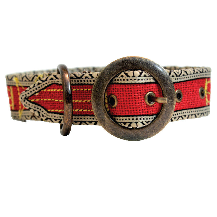 POKO Jute Collar Red Color - barksnlicks  - 1