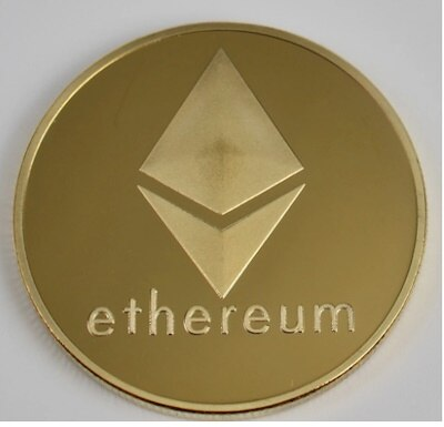 24K Gold Plated Ethereum ETH Cryptocurrency Collectible Coin