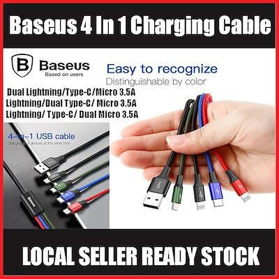 Image of Baseus Fast Charging 4-in-1 Cable - Lightning/Type-C/Micro 3.5A 1.2M