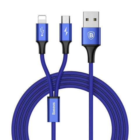 Image of Baseus Rapid Series 2-in-1 Cable Micro/Lightning 3A 1.2M Type-C - Micro/Lightning