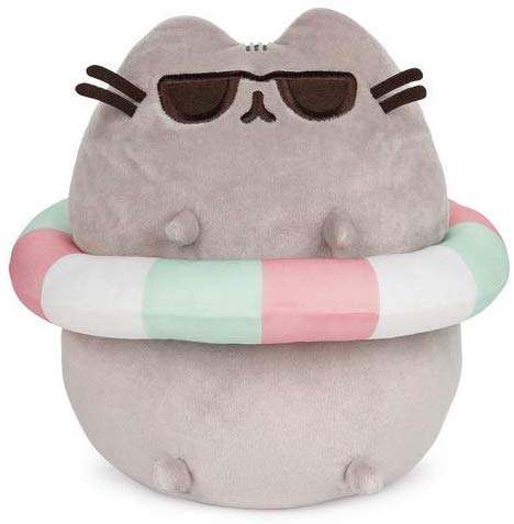 Image of GUND Pusheen in Striped Tube and Sunglasses Plush Stuffed Animal Cat, 9.5""