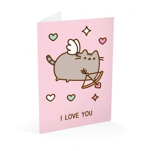 Pusheen Greeting Card Valentine's Day I Love You Flying Cupid