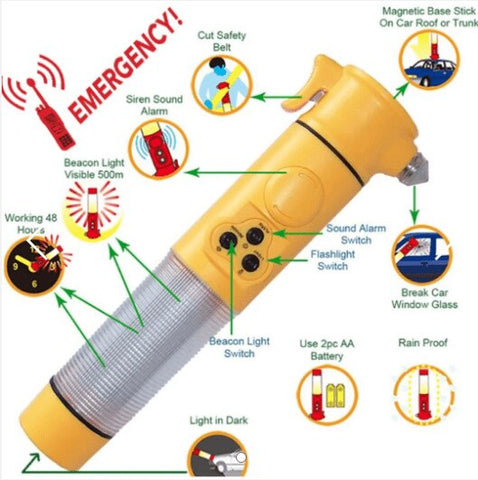 Image of Emergency 6 in 1 Siren Sound Alarm Car Safety Hammer with Flashlight