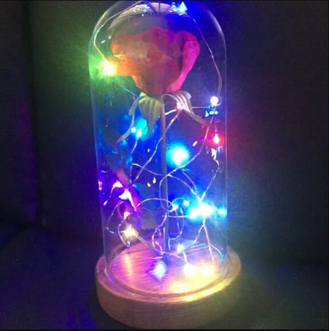 Image of Romantic LED Flower With Colourful Flashing LED Lights in Glass Dome