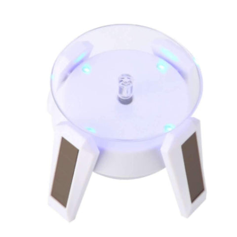 Image of High LED Glow Gold Plated Silver White Black Solar Power 360 Rotating Display Stand Turn Table Plate For Ring Necklace Bracelet Jewelry