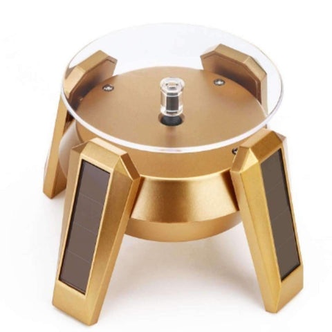 High LED Glow Gold Plated Silver White Black Solar Power 360 Rotating Display Stand Turn Table Plate For Ring Necklace Bracelet Jewelry