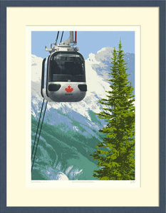 A portrait format print, Sulphur Mountain Gondola, shown in a frame.