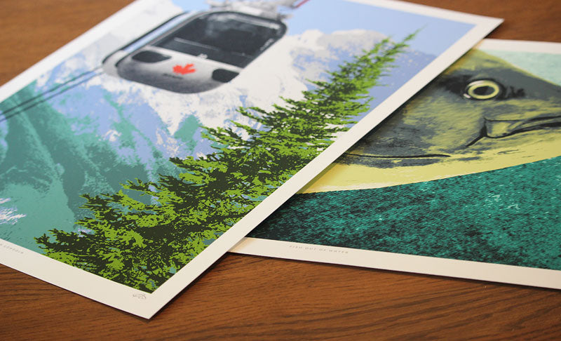 Close-up of two giclée prints