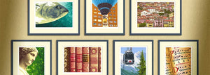 Find your favourite limited edition art print! A selection of framed prints on a wall.