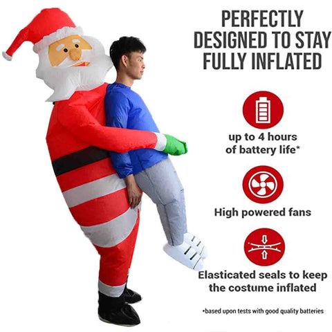 Christmas Santa Claus holding people costume inflatable toy | Inflatable Santa Pick Me Up Kids Christmas Costume
