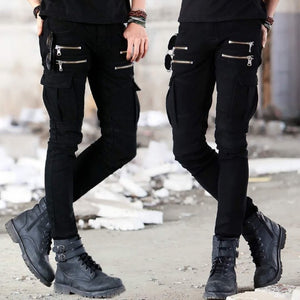 Motorcycle Denim Pants Men's Black Jeans Fashion Stretch Zipper Skinny Jeans Pleated Moto Biker Men Slim Pants Hot Selling
