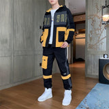 Men's Streetwear Tracksuit Two Piece Set Sweatsuit Polyester Overalls Leisure Suit Hooded Jackets And Hip Hop Harlan Pants