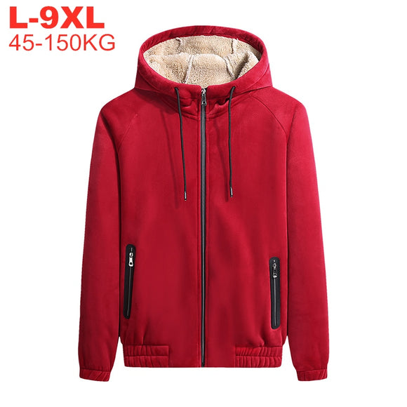 Winter Fleece Hooded Jackets Coats Men Softshell Jacket Male Warm Parka Windbreaker Thick Men's Overcoat Plus Size 7xl 8xl 9xl
