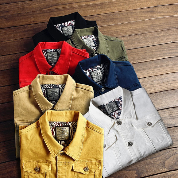Men's new multi-color stretch Cotton denim Skinny Jacket Slim Regular Denim Jacket Classic Retro Lapel Casual jeans Jacket