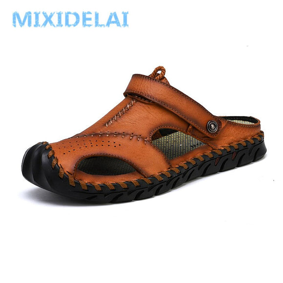 MIXIDELAI New Big Size 38-48 Genuine Leather Men Sandals Summer Quality Beach Slippers Casual Sneakers Outdoor Roman Beach Shoes