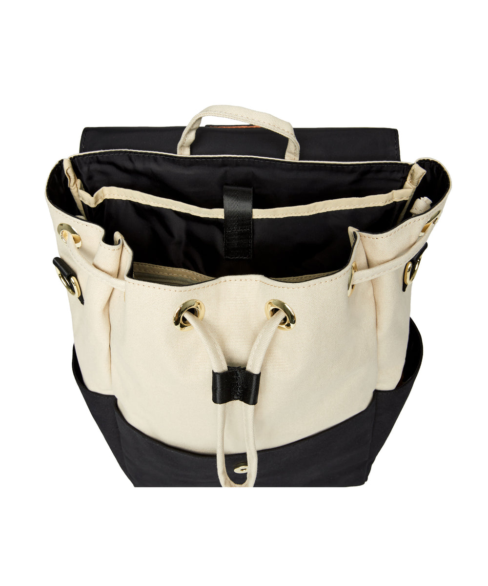 Julien Canvas Backpack Ivory & Black