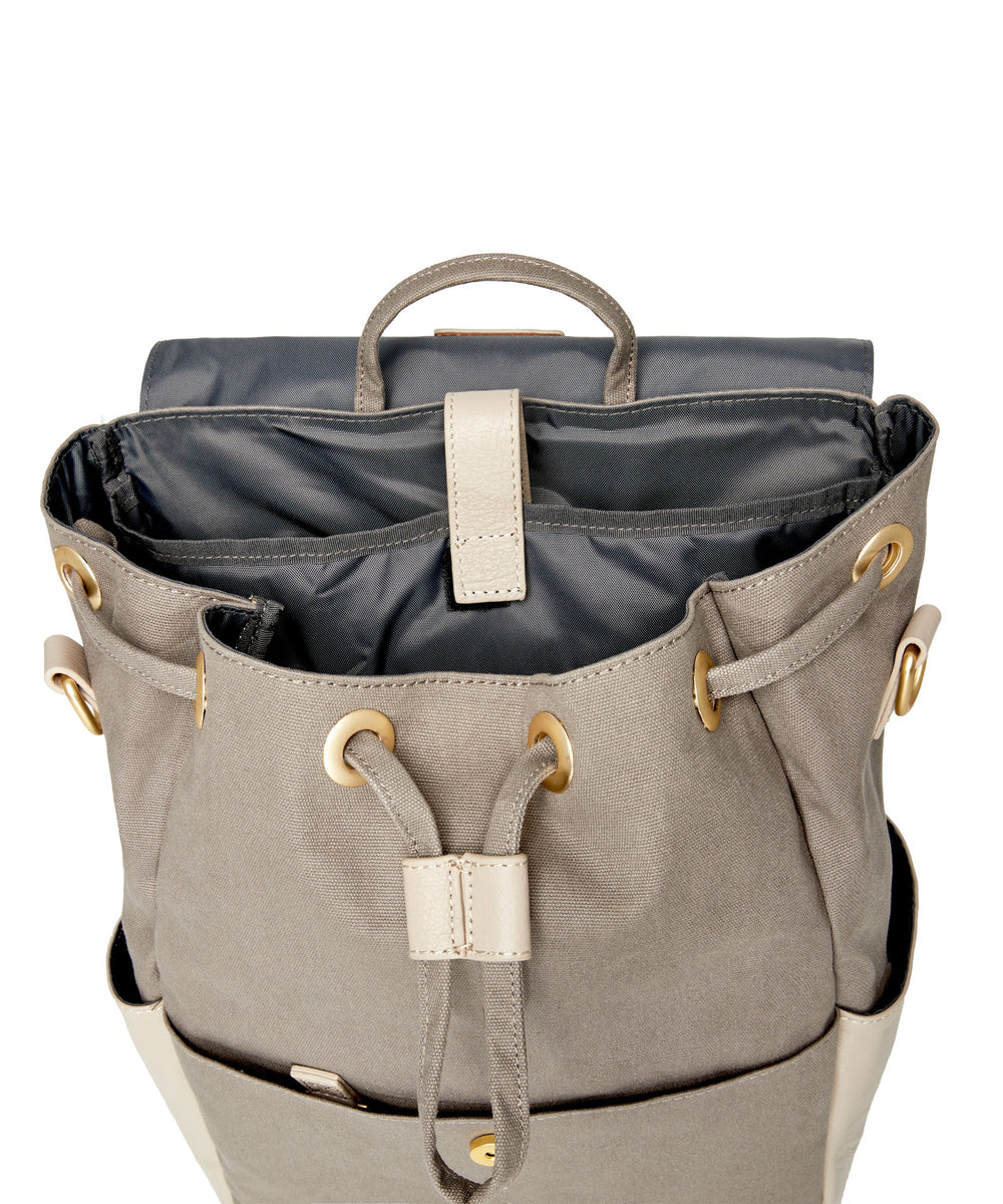 Julien Leather Backpack Gray & Taupe