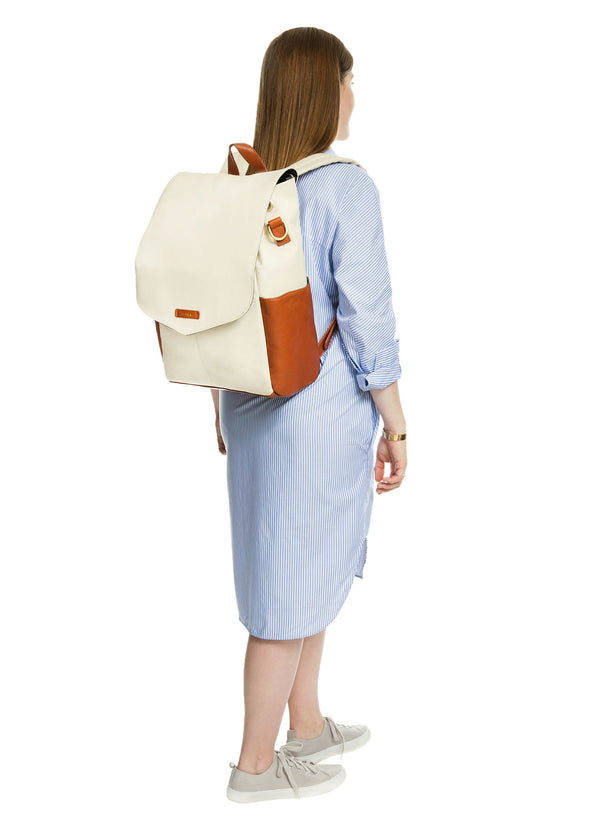 Julien Leather Backpack Ivory & Tan