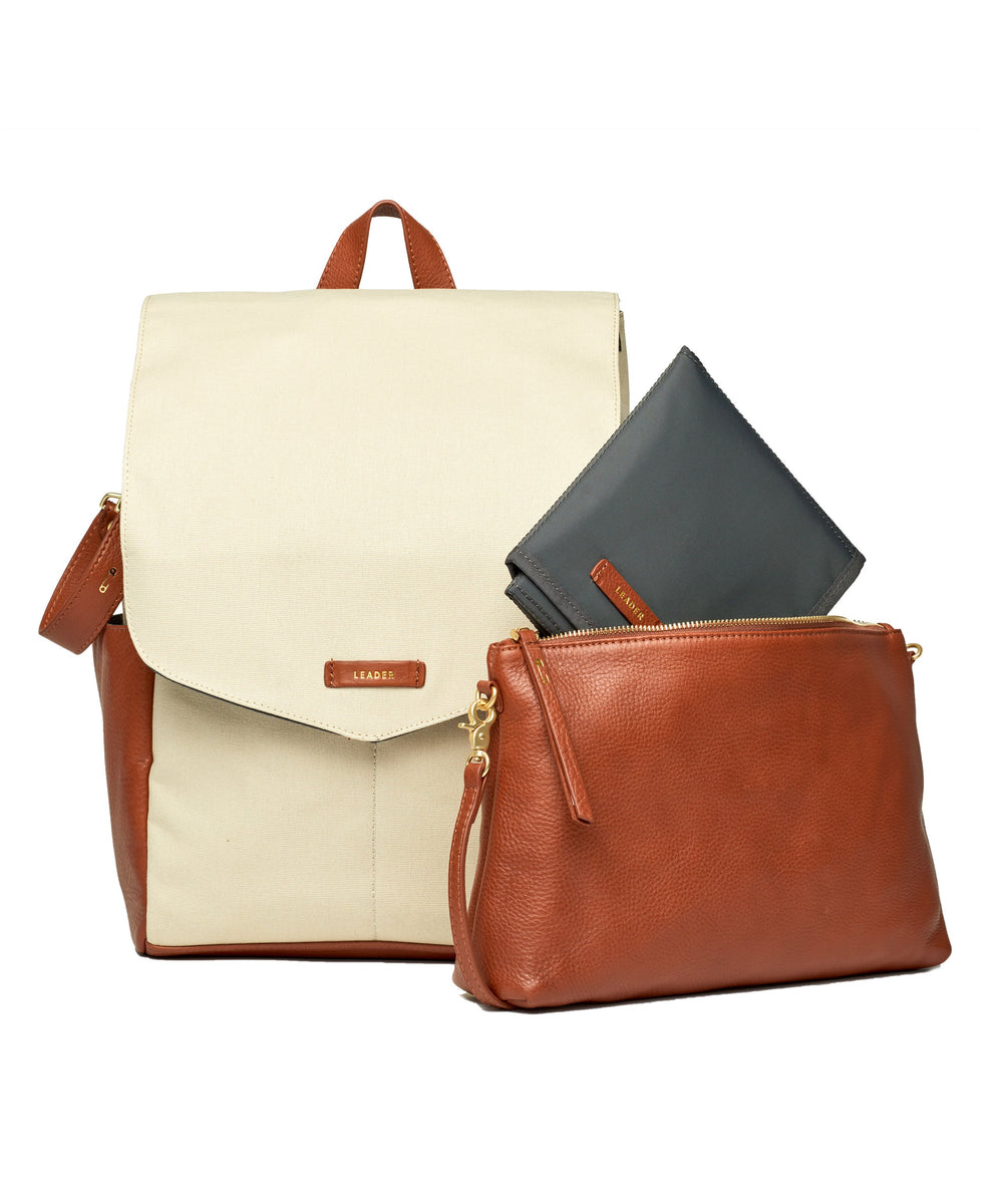 Julien Leather Set Ivory & Tan
