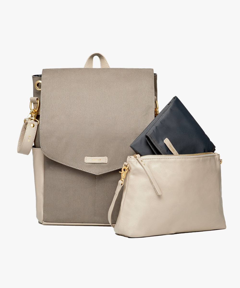 Julien Leather Set Gray & Taupe