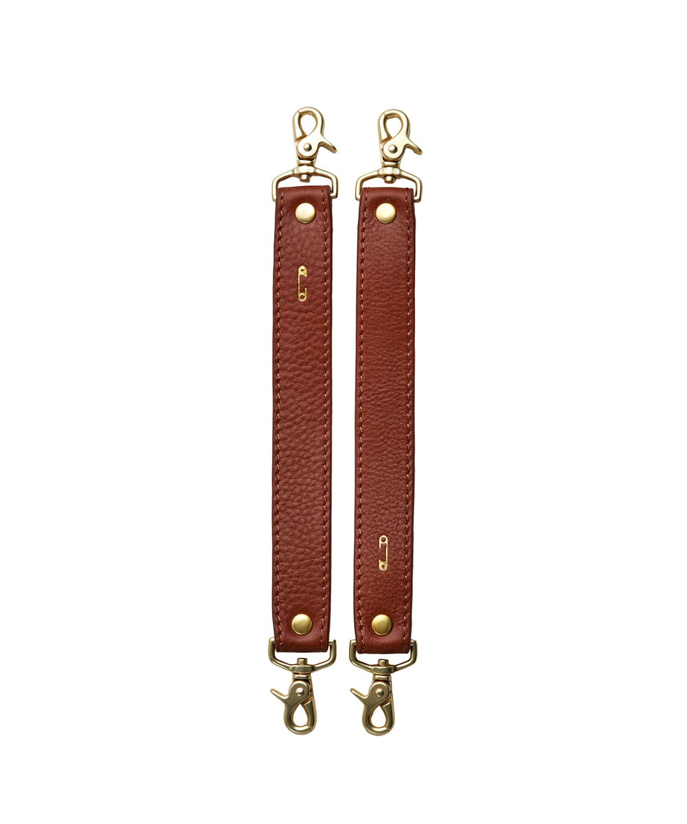 Stroller Bag Straps with Natural Tan Leather with double ended clips