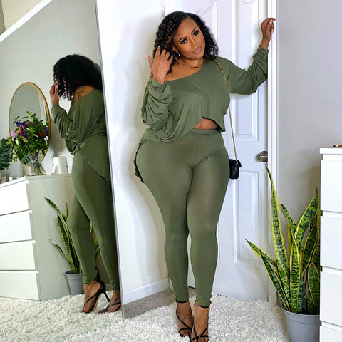 TWO PIECE STRETCH RIBBED OLIVE SET