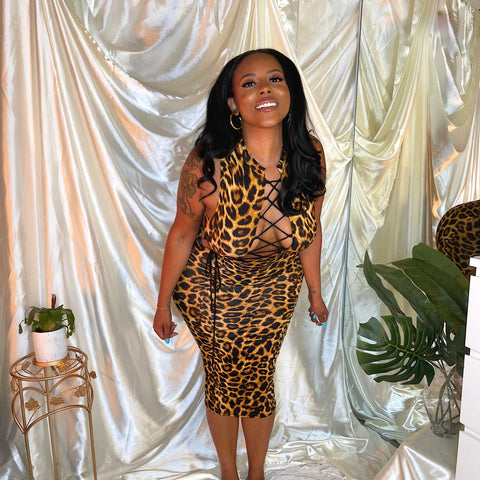 LACE CHEETAH GIRL MIDI DRESS
