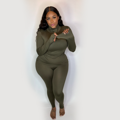 SOFT BODY STRETCH LOUNGEWEAR SET- OLIVE