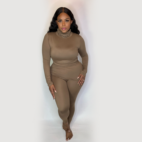SOFT BODY STRETCH LOUNGEWEAR SET- MOCHA