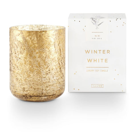 Illume Winter White Small Luxe Sanded Mercury Glass Candle