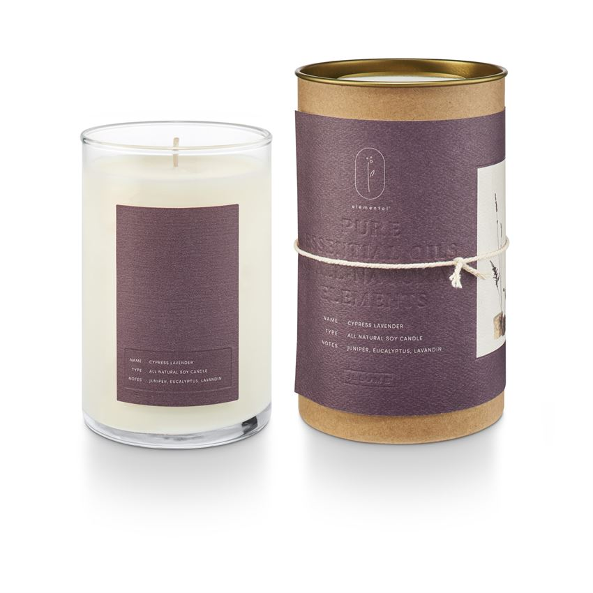 Illume Elemental Natural Glass Candle Cypress Lavender