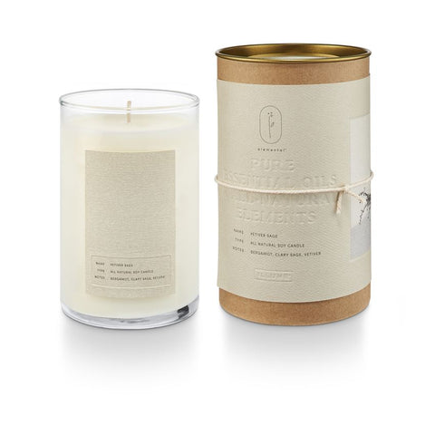 Elemental Natural Glass Candle Vetiver Sage