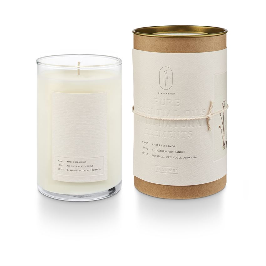 Illume Elemental Natural Glass Candle Amber Bergamot